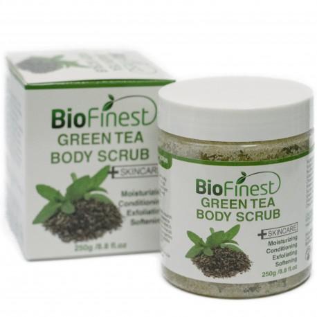 Green Tea Scrub - with Dead Sea Salt, Coconut Oil, Jojoba Oil, Vitamin E, Essential Oils - Best Antioxidants For Anti-Aging