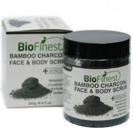 Bamboo Charcoal Body Scrub - with Dead Sea Salt, Shea Butter, Jojoba Oil, Vitamin E- Best For Dry Skin/ Cellulite/ Stretch Marks