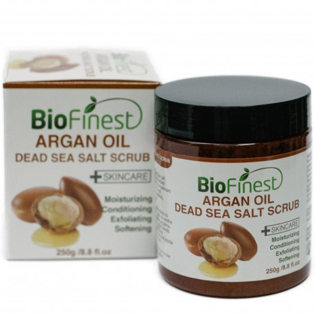 Argan Oil Dead Sea Salt Scrub: with Aloe Vera, Almond Oil, Vitamin E, Essential Oils