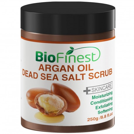 Argan Oil Dead Sea Salt Scrub: with Aloe Vera, Almond Oil, Vitamin E, Essential Oils