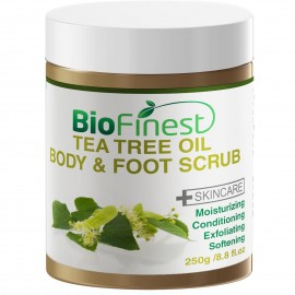 Tea Tree Oil Body & Foot Scrub: with Dead Sea Salt, Jojoba Oil, Essential Oils - Best for Athlete Foot/ Fungus/ Acne/ Warts
