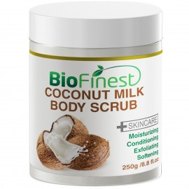 Coconut Milk Body Scrub - with Dead Sea Salt, Almond Oil, Vitamin E- Best For Dry Skin/ Cellulite/ Stretch Marks/ Eczema / Acne