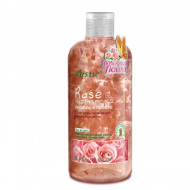 Kustie Rose Shower Gel - Handpicked Natural Flower Petals - Rose Essential Oil - Refreshing and Romantic