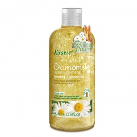 Kustie Chamomile Shower Gel - Handpicked Natural Flower Petals - Chamomile Essential Oil - Refreshing and Moisturizing