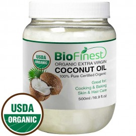 Coconut Oil - USDA Organic Extra Virgin - Cold-Pressed Unrefined - Best For Cooking, Baking, Skin & Hair Moisturizer (500ml)