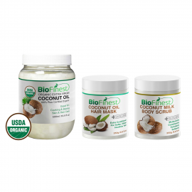 ★ Coconut Body & Hair Care Bundle ★ Coconut Oil 500ml, Coconut Milk Body Scrub & Coconut Oil Hair Mask