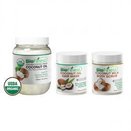 ★ Coconut Body & Hair Care Bundle ★ Best Moisturizer Preferred - Moisturizer and Exfoliator