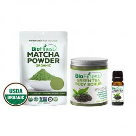 ★ I love Matcha Gift Set ★ Green Tea Scrub, Matcha Green Tea Powder & Green Tea Essential Oil