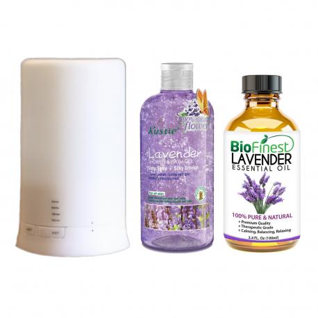Relaxing Lavender Aromatherapy Gift Set ★ Lavender Essential Oil 100ml, Lavender Flower Petals Shower Gel & Diffuser