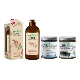 ★ Bath & Body Spa Bundle Set ★ Blueberry Oxygen Scrub, Dead Sea Mud Mask & Rose Essential Oil Shower Gel