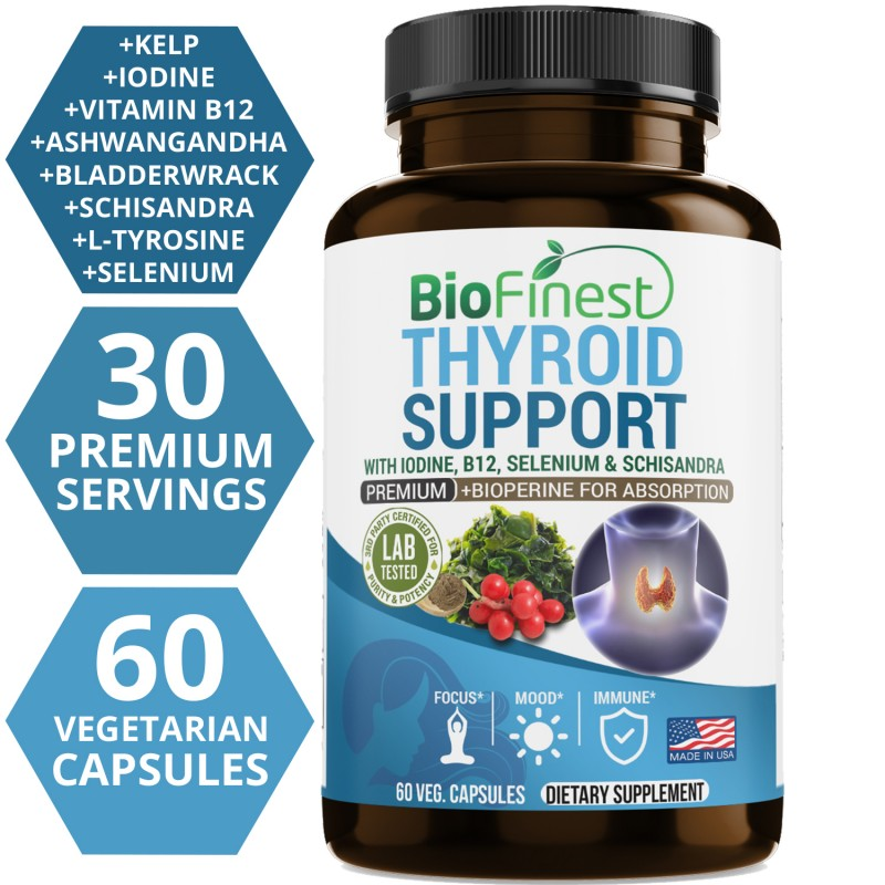 Thyroid Support Complex with Iodine - Supplement with B12