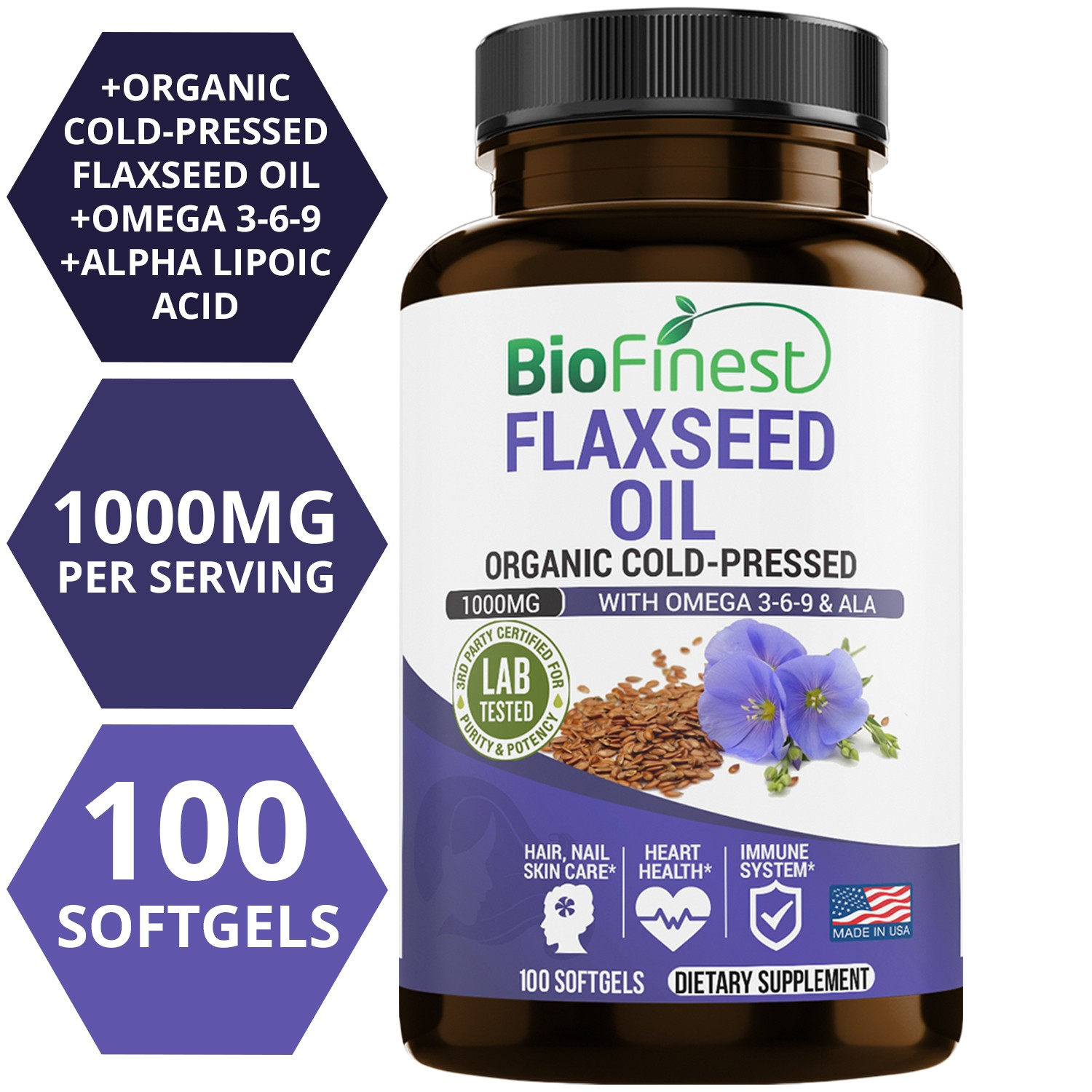 Flaxseed Oil Supplement 1000mg With Omega 3 6 9 Ala 100 Organic Cold Pressed 100 Liquid Softgels Capsules