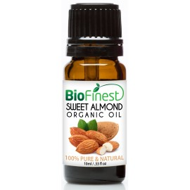 Sweet Almond Organic Oil - 100% Pure Cold-Pressed - Rich in Vitamin A/E/K - Remove Dark Circles - Reduce Fine lines - Anti-aging