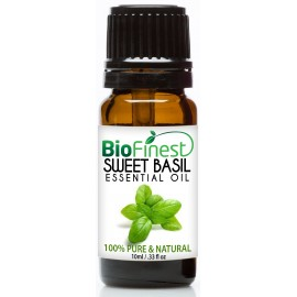 Basil Essential Oil - 100% Pure Undiluted - Therapeutic Grade - Best For Aromatherapy - Fight Flu - Ease Fatigue - Remove Odors