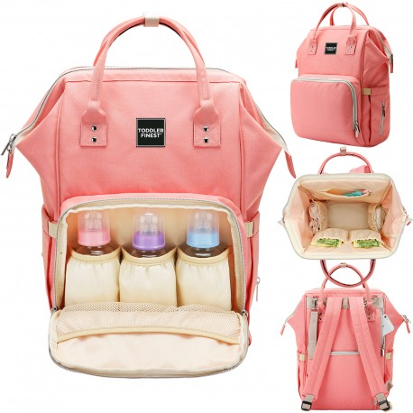 b1cdd3a7a658 Toddler Finest Diaper Bag - Multi-Function Waterproof Travel Backpack -  Nappy Bags - For Baby Care, Large Capacity (Cherry Pink) - Biofinest