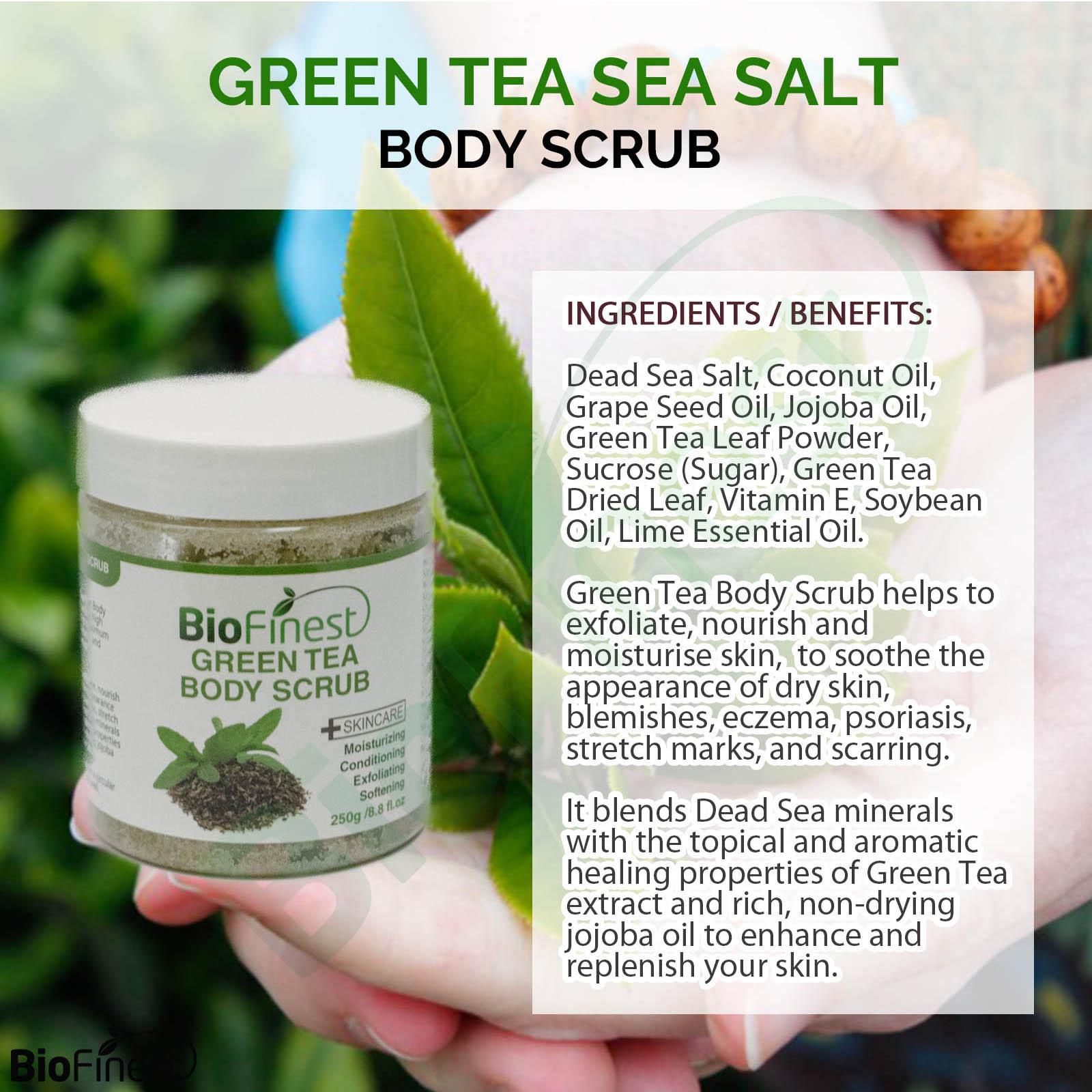 green tea scrub - with dead sea salt, coconut oil, essential