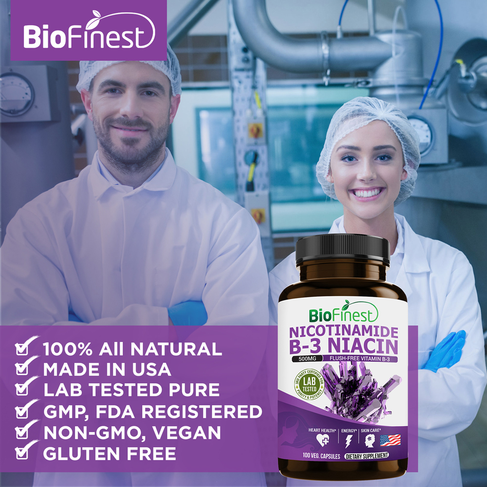 Free Pure Vitamin B3 Powder 25g Bag Nicotinamide//Niacinamide /'Non Flush/'