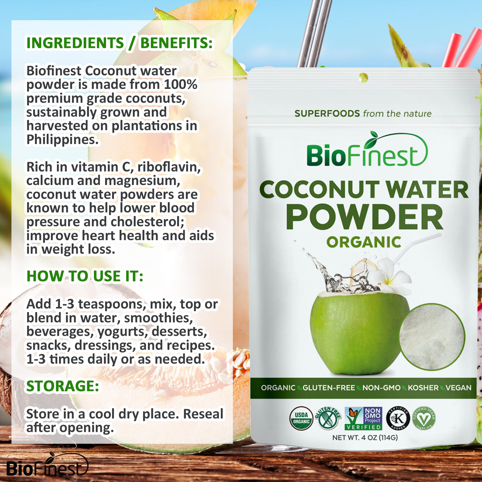 coconut water powder - 100% pure freeze-dried antioxidants