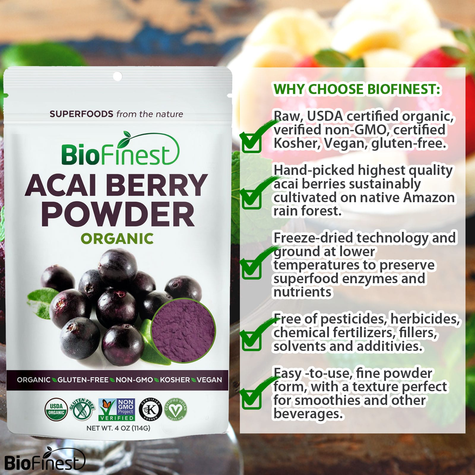 Biofinest 100% Pure Acai Berry Juice Powder- Taste and feel the boost of  our 100% organic Superfoods Today!