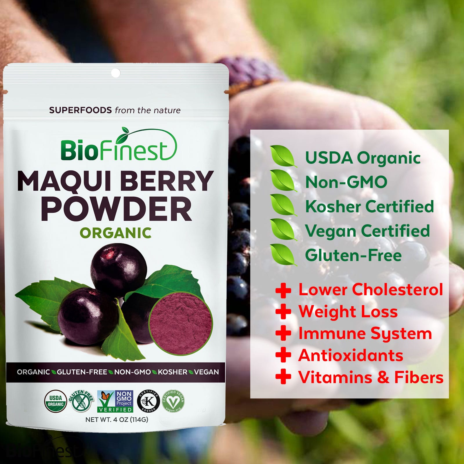 Maqui Berry Juice Powder 100 Pure Freeze Dried Antioxidants