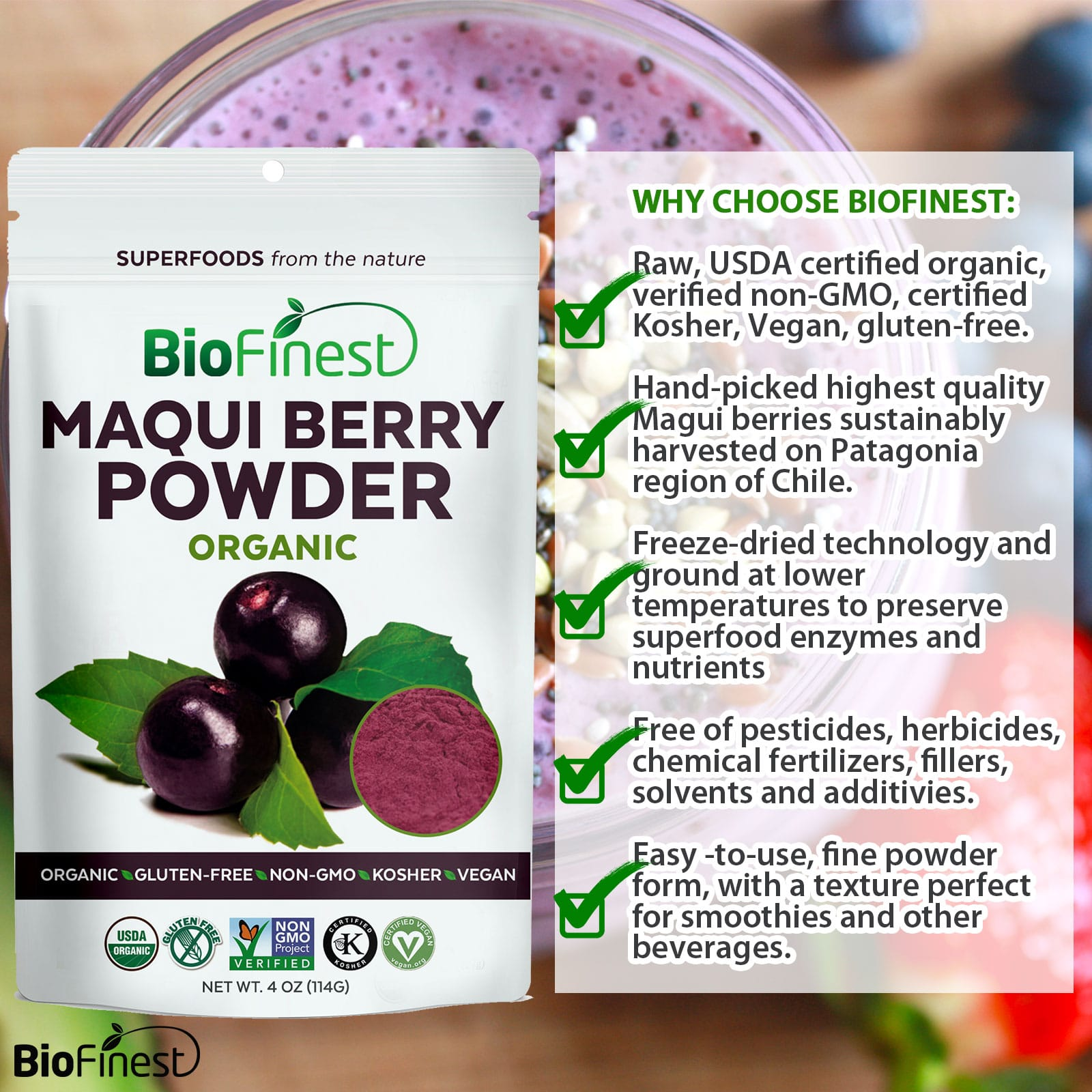 Maqui Berry Juice Powder 100 Pure Freeze Dried Antioxidants