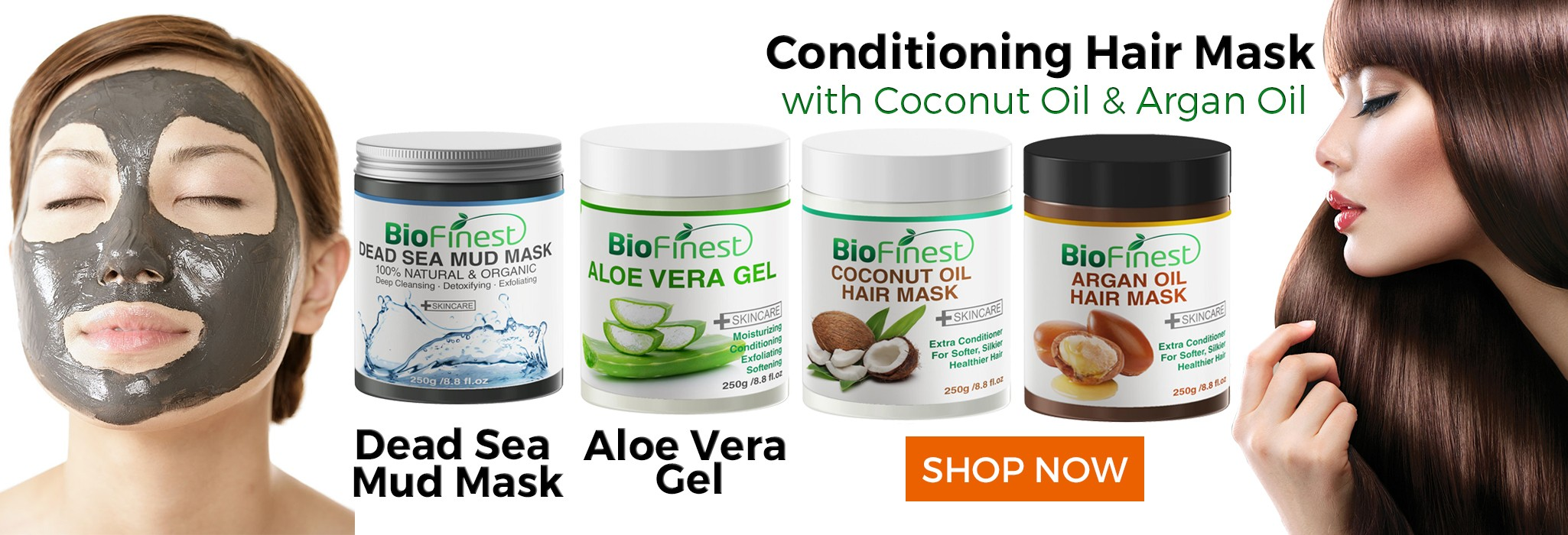 Biofinest Conditioning Hair Mask with Coconut OIl and Argan Oil, Dead Sea Mud Mask, Aloe Vera Gel