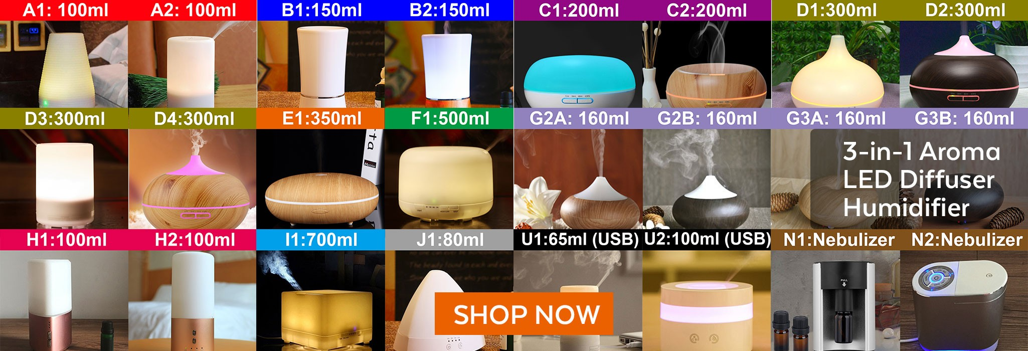 Ultrasonic Aroma Diffuser/ Air Humidifier/ Purifier/ 7-Color LED Light, 10 Hours Mist, Auto Off, Super Quiet